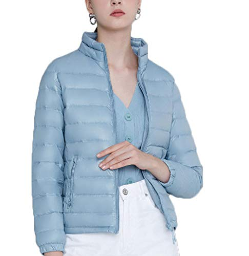 N / A Winterjacken für Damen,Damen Wm's Coat Leichte Daunenjacke, 700 Fill-Power, Warmer Parka, Wintermantel, wasserabweisend, Winddicht-Blau_3XL