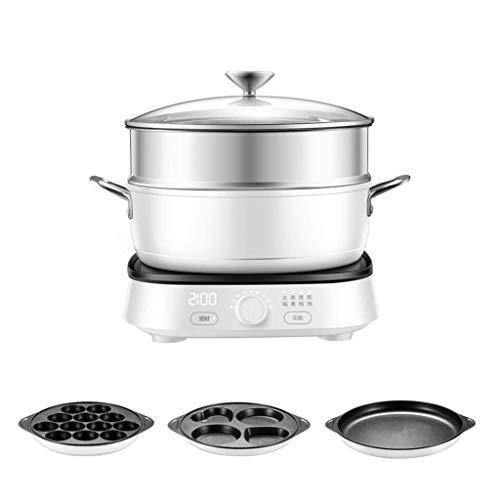 1yess Heiße Platten Multifunktionale Kochen Induktionskocher, Grill Fleischtopf, Knobsteuerung, Haushaltsdampf/Kochen/Kochen/Bratpot, Mehrzwecktopf (Color : White)