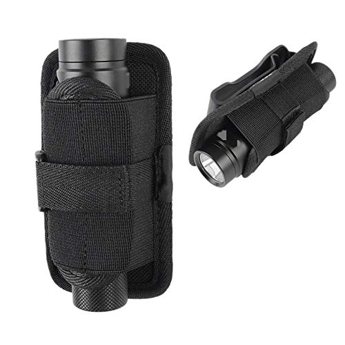 Yantan Auuen - Juego de linternas de nailon con tapa y clip giratorio a 360 grados, cinturón y bolsa ajustable