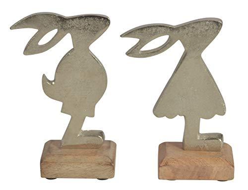 Deko CHICCIE 2 Set Osterhasen Figuren Auf Mangoholz 18cm - Ostderdeko Tischdeko Osterhase 2 Set