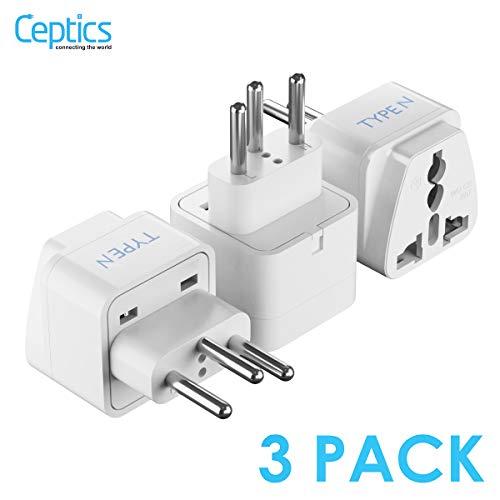 Ceptics Brazil Travel Plug Adapter (Type N) - 3 Pack [Grounded & Universal] (GP-11C-3PK)
