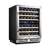 Krcassin 24 Inch Wine Cooler Refrigerator, 46 Bottle Built-in Freestanding