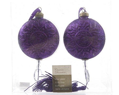 Christmas Decoration 2 Palle di Natale in Vetro, Piatte, Ø 8 cm, Viola con Nappe, per Albero di Natale, Motivo Ornamentale