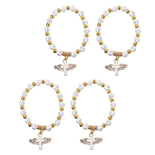 POPETPOP 4Pcs Aile D' Ange Croix Bracelet Perlé Balancent Bracelets Baptême Faveurs Bijoux Poignet Bandes Articles De Fête D' Anniversaire Cadeau pour Les Femmes Filles