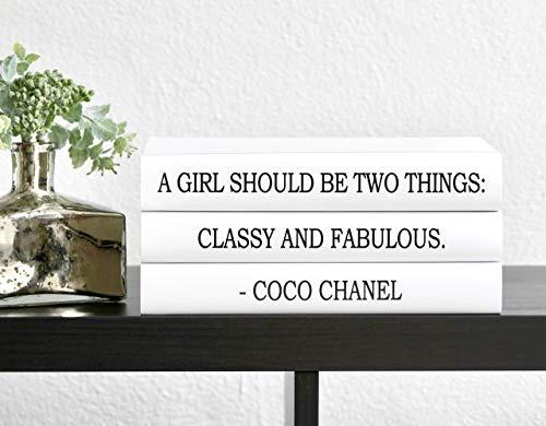 Fashion Designer Quote Classy and Fabulous Decorative Book Set, Fashion Designer Quote Books, Fashion Design Book Stack, Coffee Table Books Hardcover, Home Decor