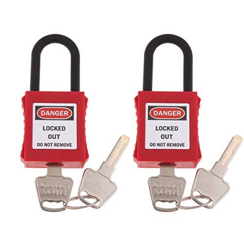 POFET 2 Stück Sicherheitsvorhängeschloss Rot, Engineering Kunststoff Isoliertes Vorhängeschloss Sicherheitsschloss Etikett Energieisolierung