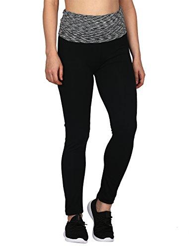 HDE Women's Maternity Yoga Pants Pregnancy Stretch Fold Over Lounge Leggings (Black Grey Space Dye, Large)