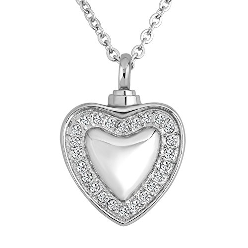 CharmSStory Heart White Crystal Heart Urn Necklace for Ashes Cremation Memorial Keepsake Pendant (Style 01)