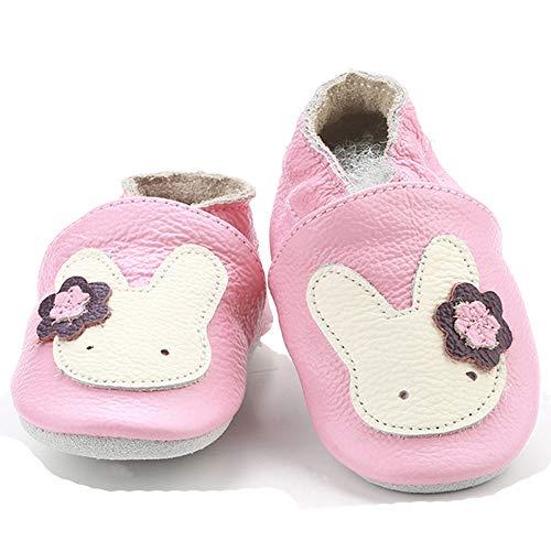 Kinderschuhe aus weichem Leder, erste Schritte nicht weich, für Babys, Mädchen, Jungen, - Hase rosa - Größe: 6-12 mois