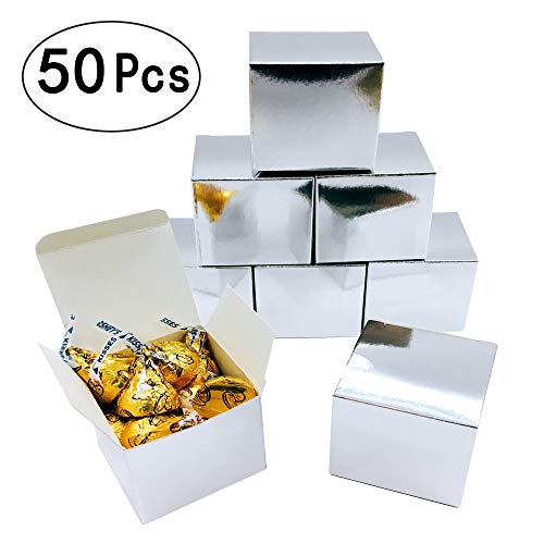 Silver Mirror Cube Candy Treat Boxes Set Gift Box Bulk Wedding Party Favors Glitter Silver Baby Shower Party Supplies 2x2x2 inch, 50pc