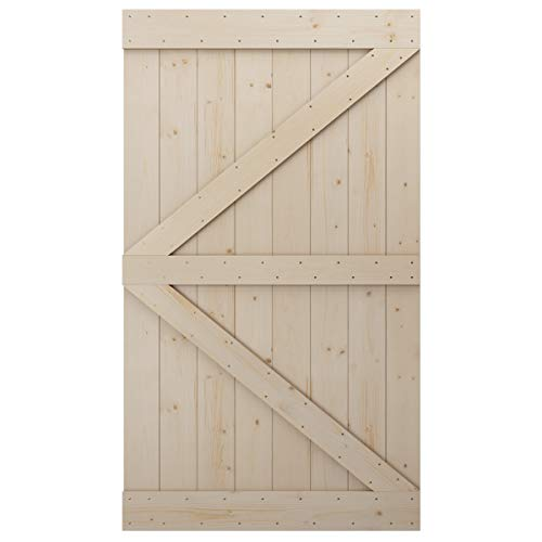 LD Build 48in x 84in Sliding Barn Wood Door Pre-Drilled Ready to Assemble, DIY Unfinished Solid Hemlock Wood Panelled Slab, Interior Single Door, Natural, Frameless K-Shape (Fit 8FT Rail)