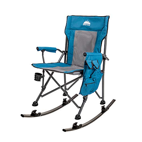 Coastrail Outdoor Folding Rocking Chair with Detachable Rockers 2 in 1 Rocking Camping Chair High Back Lawn Chair Supports up to 350lbs with Cup Holder, Side Storage, Back Pocket for Camp Patio