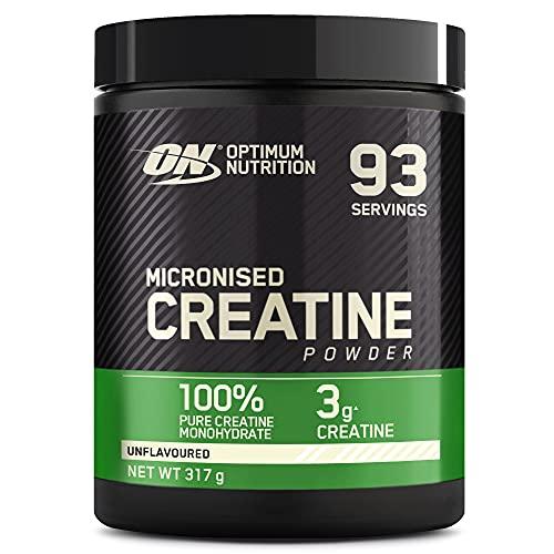Optimum Nutrition Creatina Monohidrato Micronizada, Creatina en Polvo, Suplementos Deportivos para Rendimiento, Sin Sabor, 93 Porciones, 317g, Embalaje Puede Variar