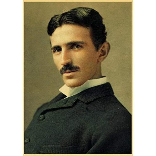 shuimanjinshan Famous Scientist Nikola Tesla Retro Poster Home Furnishing Decoration Game Poster Drawing Painting Wall Sticker 40x60cm No Frame HZ-236