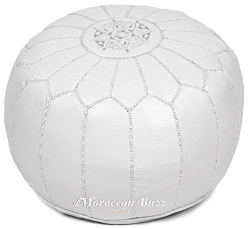 Moroccan Buzz Premium Leather Pouf Ottoman Cover, White (UNSTUFFED Pouf)