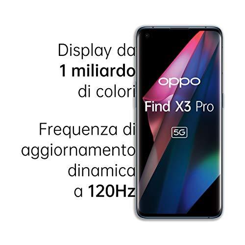OPPO Find X3 Pro Smartphone 5G, Qualcomm 888, Display 6.7''QHD+AMOLED 120Hz, 4 Fotocamere 2*50MP, RAM 12GB+ROM 256GB, 4500mAh, WiFi6, Dual Sim, con cavo dati OPPO Tipo-C, Blu [Versione Italiana]