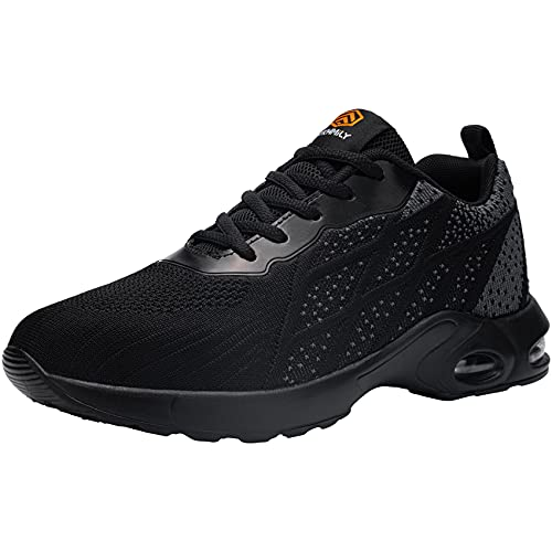 DKMILYAIR Impermeable Zapatillas de Seguridad Hombre Colchón de Aire Zapatos de Seguridad Trabajo Ligeras Respirable Punta de Acero Calzado de Seguridad Deportivo (Gris Negro,40 EU)