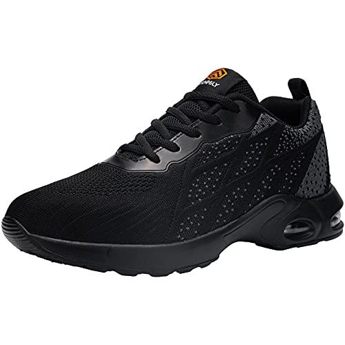 DKMILYAIR Impermeable Zapatillas de Seguridad Hombre Colchón de Aire Zapatos de Seguridad Trabajo Ligeras Respirable Punta de Acero Calzado de Seguridad Deportivo (Gris Negro,43 EU)