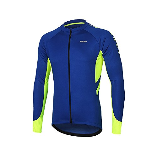 ARSUXEO Men's Full Zipper Long Sleeves Cycling Jersey Bicycle MTB Bike Shirt 6030 Blue Size L