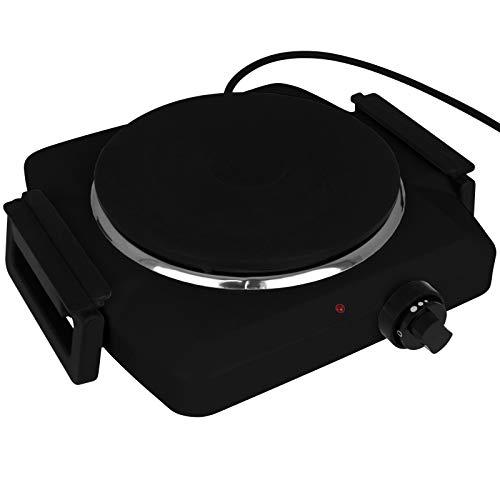 TW24 Kochplatte Einzel elektrisch 1500W mit Farbwahl schwarz weiß Massekochfeld Elektrokochplatte Einzelkochplatte (Schwarz)