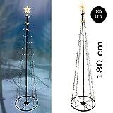 Spetebo - Albero di Natale in metallo, misura XL, con 8 funzioni, 106 LED, 180 cm, luce bianca calda