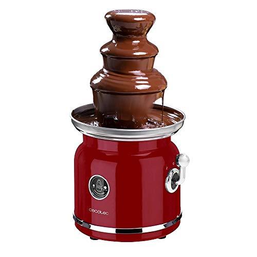 Cecotec Fuente de Chocolate Fun Chocolicious. Potencia 90 W, Diseño Retro, Torre de Acero Inoxidable, 3 Niveles de Cascada, Desmontable, Piezas aptas para lavavajillas