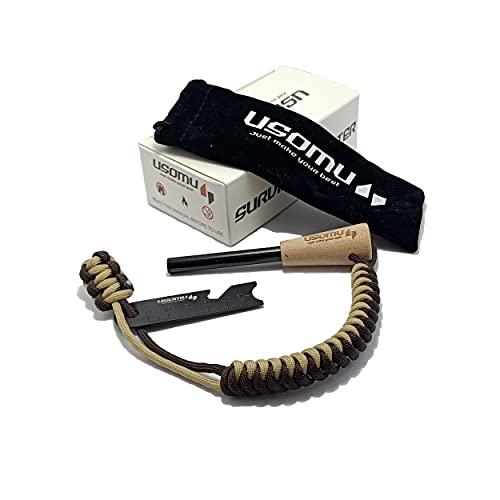 USOMU Feuerzeug aus Eisen und Magnesium, multifunktional, mit Holzgriff und Paracord, mehrfarbig, für mehr als 12000 Anwendungen, Survival-Feuerzeug, Camping, Wandern, für den Außenbereich