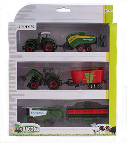Toi-Toys Juego de tractor de metal con cortacésped verde, 16 cm