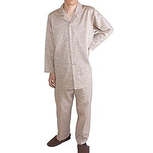 [パジャマ工房] メンズ パジャマ 長袖 前開き テーラーカラー 綿麻シャンブレー [309] Mアイボリー