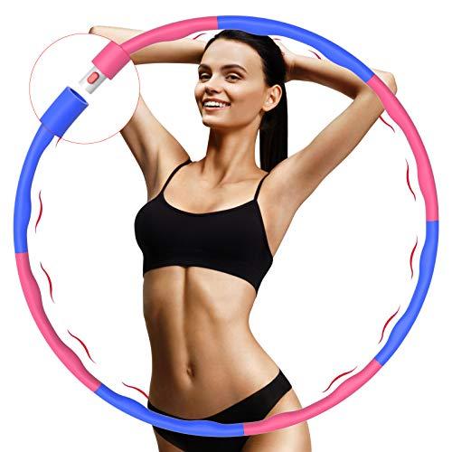 Fitness Reifen, Hula Reifen Hoop zur Gewichtsreduktion und Massage, 6-8 Segmente Abnehmbarer Hoop, Einstellbar Breit, Reifen mit Schaumstoff, für Training, Sport und Bauchformung(1Kg)
