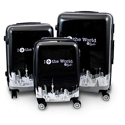 BERWIN® Design Koffer Reisekoffer Trolley Hartschalenkoffer Polycarbonat mit 4 Rollen als Set (Fly The World, 3er Set (M/L/XL))