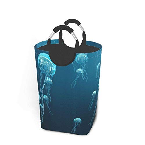 Quintion Cooper 3D of Jellyfish Large Laundry Basket Sea Fish Tail Collapsible Laundry Hamper with Handles Waterproof Durable Clothes Washing Bin Dirty Baskets Storage for Home College Dorm Bathroom