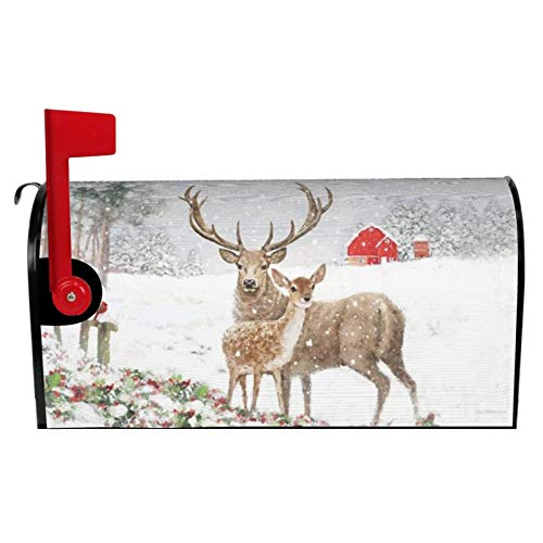 Dujiea Christmas Deer Mailbox Cover Mailbox Wraps, Waterproof Mailbox Covers Magnetic Post Box Cover Standard Size 21'(L) x 18'(W) Garden Yard Outside Farmhouse Home Decor
