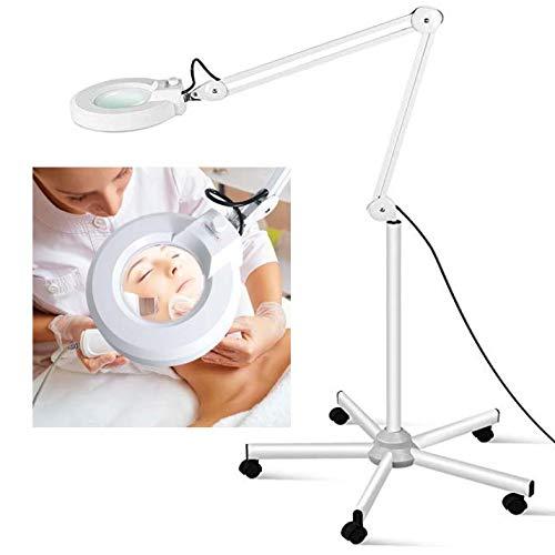 Esthetician staande ledlamp, vergrootglas met licht, verlicht vergrootglas voor lezen, handwerk en professionele taken, verstelbaar en dimbaar
