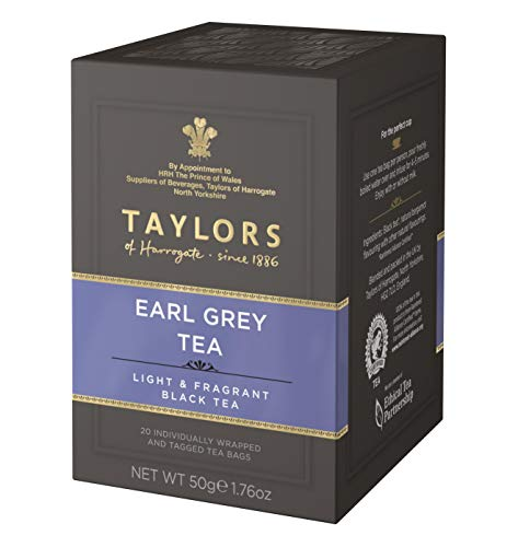 Taylors of Harrogate Bergamot Black Tea Earl Grey Light & Fragrant - 1 x 20 Bolsitas de te (50 gramos)