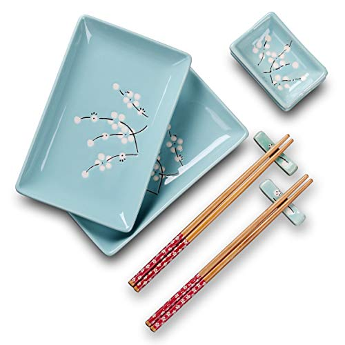 Panbado 8 pcs Sushi Plate Set, Porcelain Sushi Sets Japanese Style, Gift Box Include 2 X Sushi Plates, 2 X Dip Bowls, 2 X Chopstick Rest, 2 Pairs of Bamboo Chopsticks. Blue