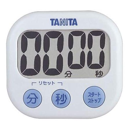 タニタ キッチン タイマー マグネット付き 大画面 100分 ホワイト TD-384 WH でか見えタイマー