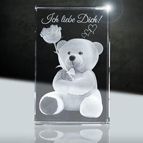 3D Glas | Ich Liebe Dich | Motiv: Teddy Rose | 80x50x50mm | Partnergeschenk