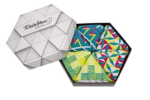 Rainbow Socks - Damen Herren Geometrisch Socken Box Geschenk - 3 Paar - Türkis Rosa Gelb - Größen 41-46