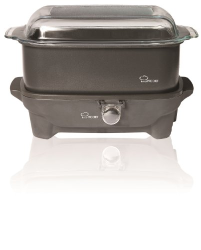 Pro Chef PCS600 6-Quart Oblong-Shaped Slow Cooker with Deep Dish Glass Cover, with Shabbos Sure Knob Cover and Blech