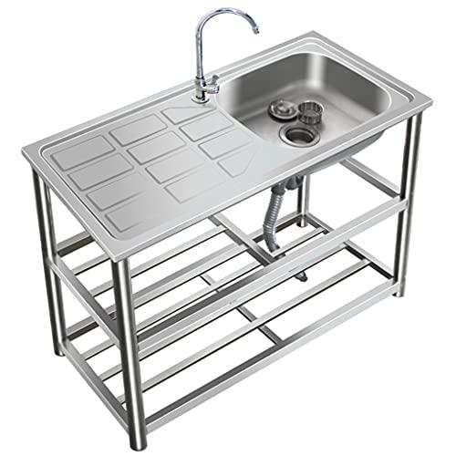 YXX Fregadero de Cocina con Mesa de Trabajo, Unidad de un Solo tazón de Acero Inoxidable, para Garaje, Restaurante, Cocina, lavadero, Exterior, fácil de Limpiar e Instalar