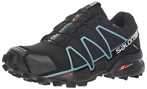 Salomon Women's Speedcross 4 GORE-TEX Trail Running Shoes, Black/Black/Metallic Bubble Blue, 9 M US