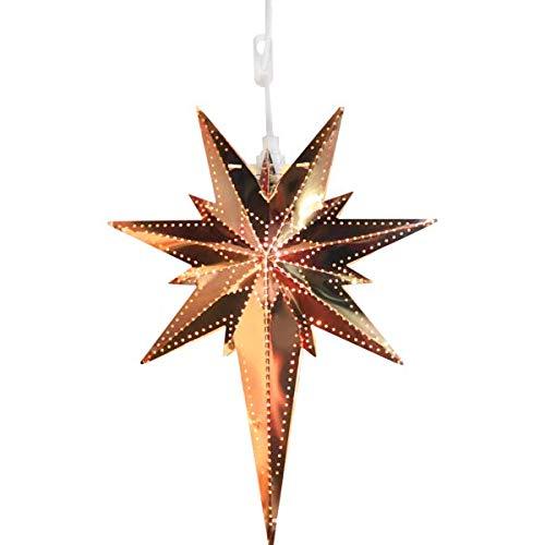 Kamaca Magisch leuchtender Stern Fensterbeleuchtung aus Messing Größe 35 x 25 Deko für Winter Weihnachten (Kupfer)