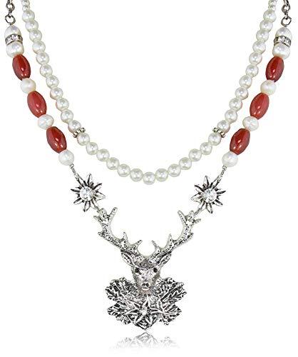 Doppelreihiges Perlen Collier mit Hirsch Anhänger Rot - Außergewöhnliche Perlenkette zu Dirndl und Trachten