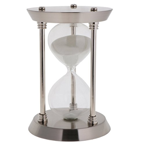ZYAQ Vintage Metal Frame Hourglass Sandglass Sand Timer Desk Table Book Shelf Home Decoration (60 Minutes, Silver)