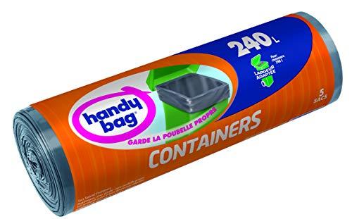 Handy Bag 1 Rouleau de 5 Sacs Poubelle 240 L, Pour les Containers, Largeurs Adaptée, Résistant, Anti-Fuites, 114 x 140 cm, Noir, Opaque