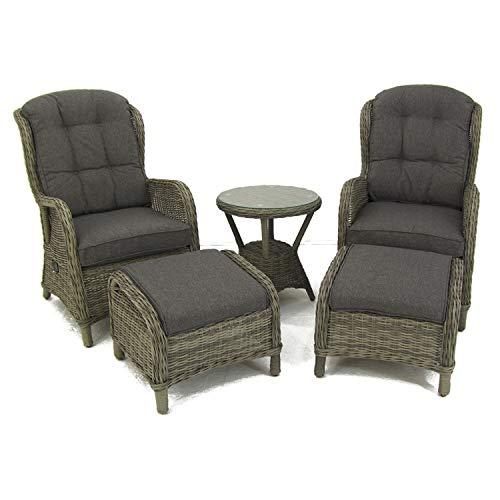 Conjunto de jardín, Mesa Auxiliar, 2 sillones reclinables y 2 reposapiés, Aluminio y rattán sintético Redondo, Color Gris