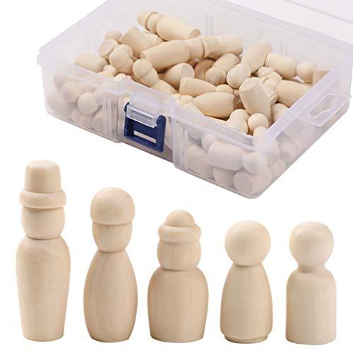 EXCEART 60 Piezas Muñecas de Clavija de Madera Personas Inacabadas Figuras de Formas de Madera Cuerpos de Muñecas Decorativos para Manualidades de Bricolaje