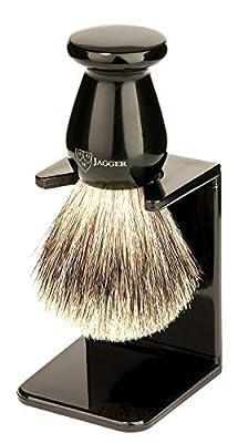 Edwin Jagger Best Badger Hair Shaving Brush with Drip Stand - Medium, Imitation Ebony