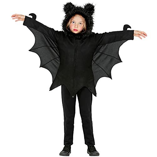 Widmann - Kinderkostüm Fledermaus, Poncho mit Kapuze und Ohren, Schwarz, Oberteil, Vampir, Kostüm, Verkleidung, Mottoparty, Karneval, Halloween